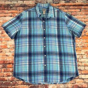 LL Bean SS Button Up Linen Camp Shirt Plaid XL